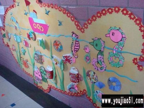 幼儿园环境布置图片:幼儿作品展; 幼儿园墙面环境布置:海马—幼儿园