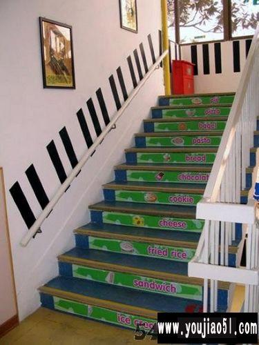 幼儿园环境创设图片,幼儿园环境布置吊饰    幼儿园楼梯设计:一起学