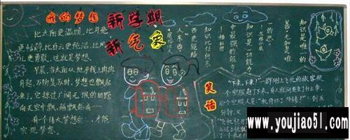 012年春季 梦想在新学期盛开 中学黑板报设计图 新学期黑-高清图片
